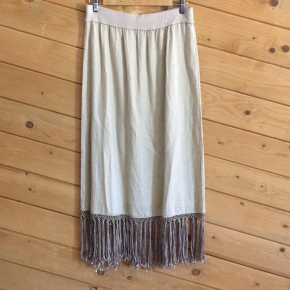 Chico's Dresses & Skirts - Chico's Waistband Long Maxi Skirt Fringe Linen 1